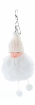 Přívěšek ke kabelce Slippy Baby s kožešinkou bílý