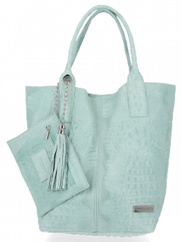 Italské Kožené Dámské Kabelky Shopper Bag Vittoria Gotti Mátová