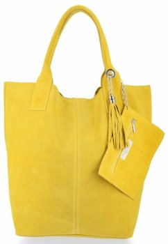 Kožené kabelky Shopperbag přírodní semiš Limetková