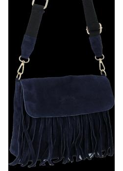 Módní Kožená Kabelka Listonoška Boho Vittoria Gotti Tmavě Modrá