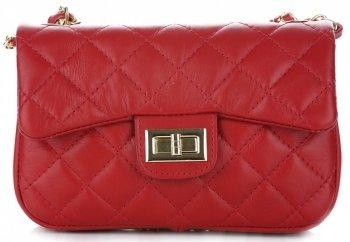 kožená kabelka listonoška Genuine Leather Červená