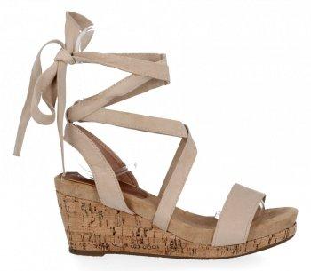Lady Glory Béžové dámské klínové sandály