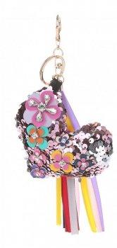 Přívěšek ke kabelce Flitrové srdce s koženými květy růžové