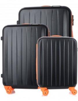 Kufry renomované firmy David Jones Sada 3 v 1 černá s oranžovou