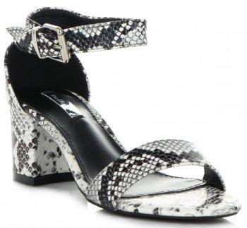 Univerzální Dámské Sandály na podpatku Bellucci Hadový Motiv Černobílé