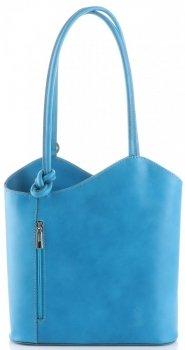 Kožená kabelka batůžek Made in Italy tyrkysová