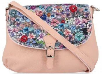 Vittoria Gotti Módní Kožená Kabelka Listonoška Made in Italy květiny Prášková Růžová