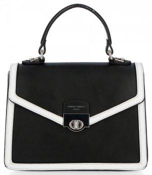 Elegantní Kabelka Listonoška Kufřík David Jones Černá/Bílá