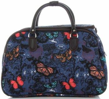 Velká cestovní taška kufřík Or&Mi vzor v motýlech Multicolor - Modrá