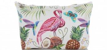 Firmowe i Modne Kosmetyczki w rozmiarze S marki David Jones wzór Flaminga Multikolor Brązowa