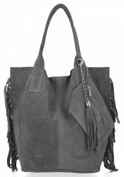 Modna Torebka Skórzana Zamszowy Shopper Bag w Stylu Boho firmy Vittoria Gotti Szara