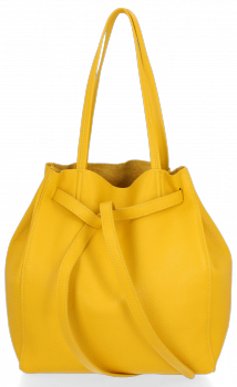 Włoskie Torebki Skórzane ShopperBag z Kosmetyczką Żółta