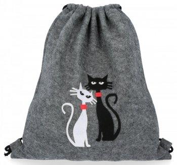 Filcowy Plecaczek Damski Modny Worek firmy Bruno Rossi Cats Szary