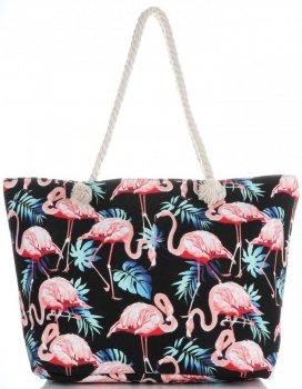 Uniwersalna Plażowa Torba Damska XXL Flamingi firmy Scarf's Multikolor Czarna
