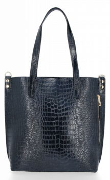 Vittoria Gotti Klasyczne Torebki Skórzane XL we wzór Aligatora Granat