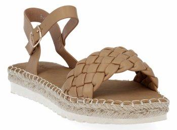 Camelowe sandały damskie espadryle z plecionką firmy Bellucci