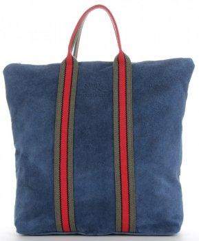 Vittoria Gotti Torebki Skórzane w modne paski Firmowy Shopper Made in Italy z funkcją Plecaczka Jeans
