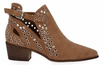 Camelowe botki damskie na obcasie firmy Bellucci