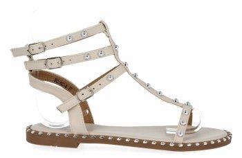 Beżowe sandały damskie z ćwiekami firmy Bellicy