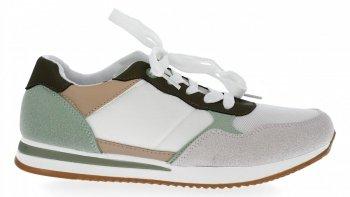 Zielone modne sneakersy damskie firmy Bellucci