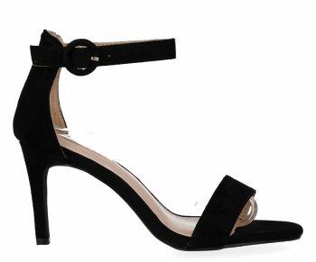 Czarne sandały damskie na obcasie firmy Bellucci