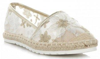 Modne Espadryle Damskie w kwiaty firmy Ideal Shoes Złote