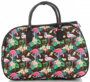 Duża Torba Podróżna Kuferek Or&Mi Flamingil Multikolor - Brązowa
