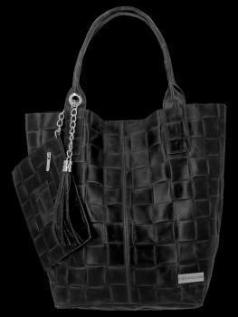 Modne Torebki Skórzane Shopper Bag XL z Etui firmy Vittoria Gotti Czarna