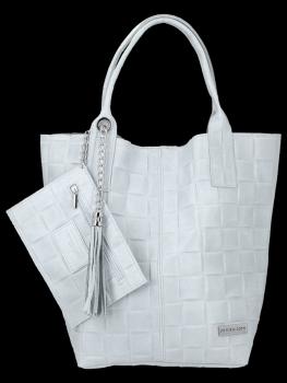 Modne Torebki Skórzane Shopper Bag XL z Etui firmy Vittoria Gotti Jasno Szara