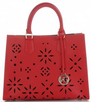 Vittoria Gotti Firmowa Torebka Skórzana Włoski Kuferek w modne ażurowe wzory z Kosmetyczką  Czerwony