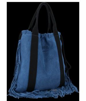 Vittoria Gotti Włoska Torebka Skórzana Shopper Bag w stylu Boho Jeansowa