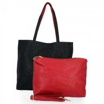 BEE BAG Torebki Damskie 2 w 1 Shopper z Listonoszką Grace Czarna/Czerwona