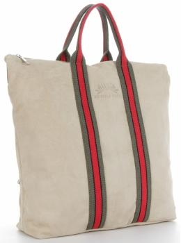 Vittoria Gotti Torebki Skórzane w modne paski Firmowy Shopper Made in Italy z funkcją Plecaczka Beż
