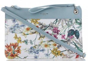 Firmowe Listonoszki Damskie we wzór kwiatów marki David Jones Multikolor Błękitna