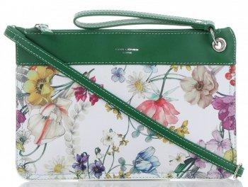 Firmowe Listonoszki Damskie we wzór kwiatów marki David Jones Multikolor Zielona