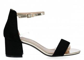 Czarne sandały damskie na obcasie firmy Lady Glory