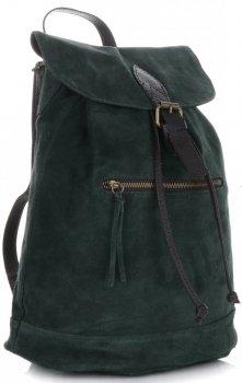 Vittoria Gotti Skórzany Plecak Damski Made in Italy Butelkowa Zieleń