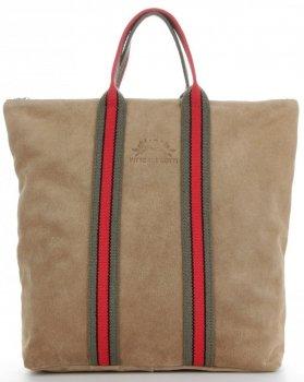 Vittoria Gotti Torebki Skórzane w modne paski Firmowy Shopper Made in Italy z funkcją Plecaczka Ziemista