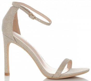 Modne Sandały Damskie na Szpilce Brokatowe Złote