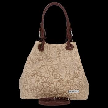 Włoska Torebka Skórzana firmy Vittoria Gotti z tłoczonym wzorem Kwiatów Beżowa