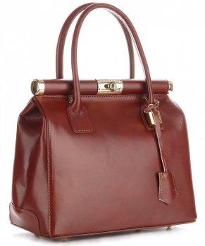Torebki skórzane kuferki Genuine Leather Brąz