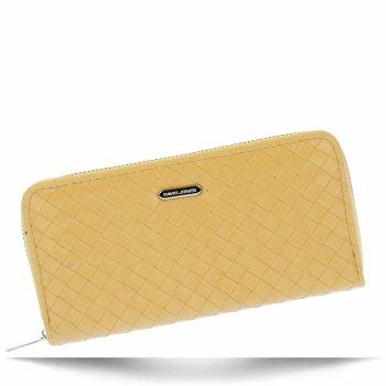 Modny Portfel Damski XL firmy David Jones Żółty