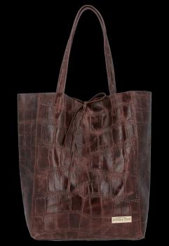 Vittoria Gotti Włoski Shopper XL Uniwersalna Torba Skórzana do noszenia na co dzień z modnym motywem Żółwia Czekolada