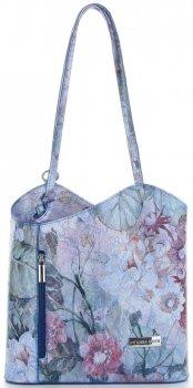 Uniwersalna Torebka Skórzana z funkcją plecaczka  firmy Vittoria Gotti Made in Italy we wzory Kwiatów Niebieska