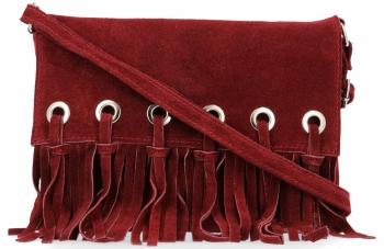 Vittoria Gotti Made in Italy Rewelacyjna Listonoszka Skórzana w stylu Boho Bordowa