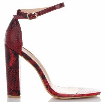 Modne Sandały na Obcasie firmy Bellucci Czerwone