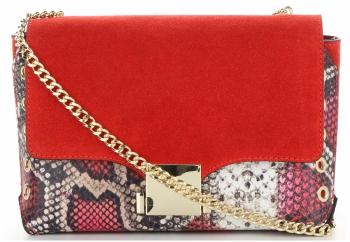 Vittoria Gotti Ekskluzywna Firmowa Listonoszka Skórzana Made in Italy w modny motyw węża Czerwona