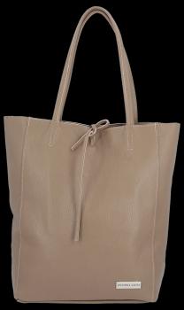 Uniwersalna Torebka Skórzana Firmowy Shopper Vittoria Gotti w rozmiarze XL Ziemista