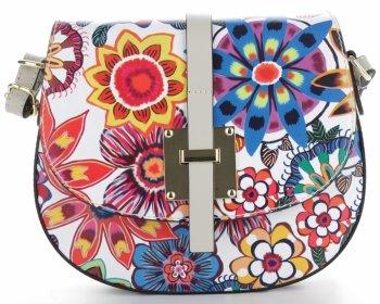 Torebka Skórzana firmy Vittoria Gotti Modna Włoska Listonoszka we wzór kwiatów Multikolor Biała Flower