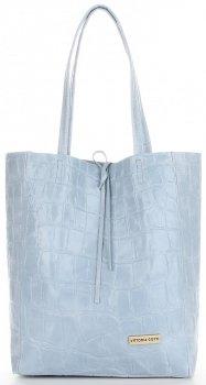 Vittoria Gotti Włoski Shopper XL Uniwersalna Torba Skórzana do noszenia na co dzień z modnym motywem Żółwia Błękitna